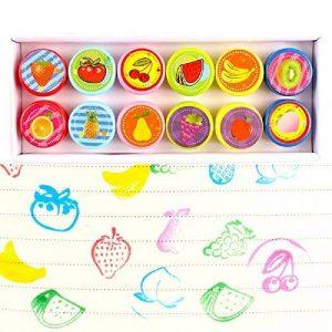 Tampons Enfants, Fontee 10Pcs Drôle smiley visage d'émotion Auto-encreur Tampons pour les enfants (Fruit) de la marque Fontee image 0 produit