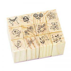 Timbres en caoutchouc en bois avec motif en dentelle carré pour décoration bricolage Carte artisanale Fourniture de scrapbooking - 12pcs de la marque IBEET image 0 produit