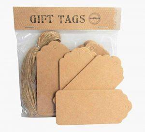 Étiquette de cadeau vierge marron Étiquette de siège de carte de lieu de mariage de pétoncle de Noël avec des cordes (200) de la marque Lau and Home image 0 produit