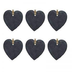 Étiquette en ardoise - en forme de cœur - décoration à accrocher - petite taille - lot de 6 de la marque Nicola Spring image 0 produit