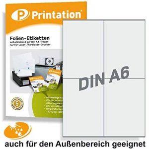 Étiquettes 105 x 148,5 mm transparent mat résistant aux intempéries sur a 4 comprenant 2 x 2 page folienetiketten/40 105 x 148,5 de la marque Printation image 0 produit