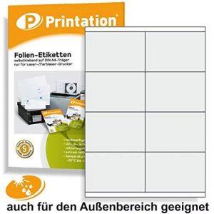 Étiquettes 105 x 70 mm résistant aux intempéries blanc sur a 4 comprenant 2 x 4/page folienetiketten 80 105 x 70 mm de la marque Printation image 0 produit