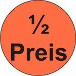 Étiquettes autocollantes « 1/2 prix » – 3000 autocollants publicitaires Ø 30 mm – Rouge vif de la marque HKR-Welt-BB image 2 produit