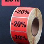 Étiquettes autocollantes « 20% » – 1 000 étiquettes publicitaires 39 x 30 mm – Rouge vif de la marque HKR-Welt-BB image 1 produit