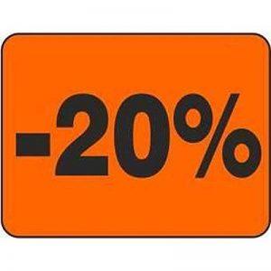 Étiquettes autocollantes « 20% » – 3000 étiquettes publicitaires 31 x 23,5 mm (rouge) de la marque HKR-Welt-BB image 0 produit
