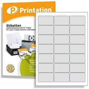 Étiquettes d'adresse universelles pour enveloppes C6 Blanc 63,5 x 38,1 mm 2100 étiquettes à adresse sur 100 feuilles DIN A4 3 x 7 coins arrondis 4677 LA320 L7160 3422 de la marque Printation image 0 produit