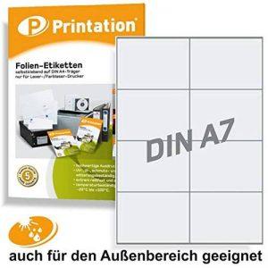 Étiquettes de 105 x 74 mm-transparent-résiste aux intempéries à a 4 comprenant 2 x 4/page folienetiketten 80 105 x 74 cm de la marque Printation image 0 produit