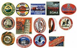 Étiquettes pour bagages Vintage hôtel Stickers Lot de 14 autocollants de valise de voyage de la marque STICKERZZZ!!!! image 0 produit