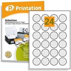 Étiquettes rondes diamètre 40 mm 2400 pastilles autocollantes blanc format a4 40 mm de la marque Printation image 0 produit