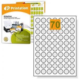 Étiquettes universelles rondes 7000 mm diamètre de 24 pastilles autocollantes 100 feuilles a4 de 24 mm de la marque Printation image 0 produit