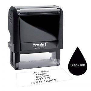 Trodat 491358x 22mm–personnalisé fabriqué sur mesure auto-encreur Entreprise adresse Tampon en caoutchouc–jusqu'à 5lignes de texte Couleurs d'encre: Noir, Rouge de la marque Variant Stamp image 0 produit