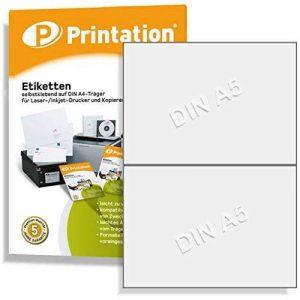 Universel et envoi de 200 étiquettes 210 x 148,5 mm-blanc - 100 feuilles a4 3655 1 x 2 de la marque Printation image 0 produit