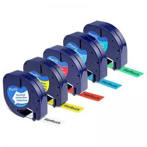 Wonfoucs 5 Rubans Compatible pour Dymo LetraTag 91201 91202 91203 91204 91205 Plastique Étiquettes, 12mm x 4m, Noir sur Blanc/Rouge/Jaune/Bleu/Vert Cassettes pour LT-110T LT-100H QX 50 XR XM de la marque Wonfoucs image 0 produit