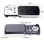 Xyk LED coulissant meilleure qualité Loupe de poche avec lumière - Grossissement 30x 60x 90x - Petite Loupe Portable avec lampe UV pour bijoux, diamants, strass, pièces de monnaie, Tampons Noir de la marque XYK image 2 produit